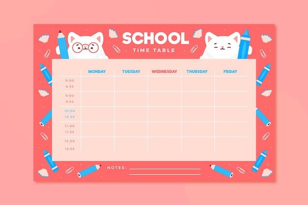Stundenplan für den schulanfang in flachem design