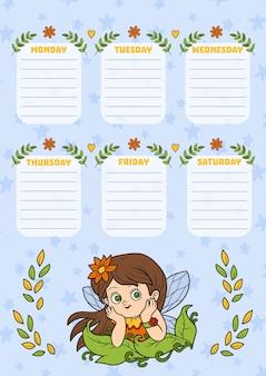 Stundenplan für kinder mit wochentagen. farbe cartoon fee mädchen