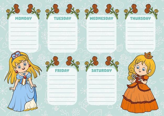 Stundenplan für kinder mit wochentagen. farbfiguren von cartoon-prinzessinnen