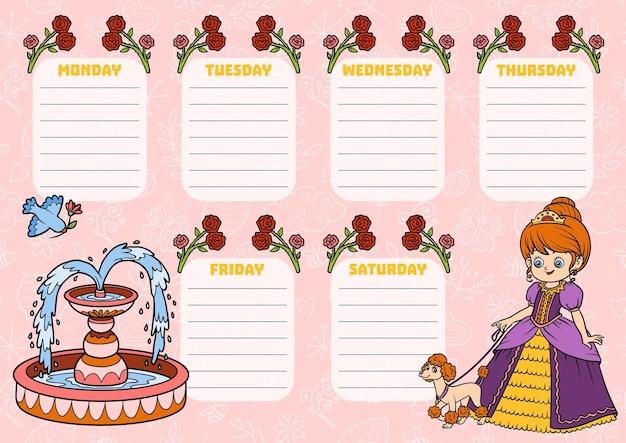 Stundenplan für kinder mit wochentagen. farbkarikaturprinzessin mit einem hund