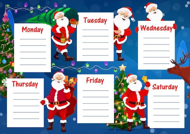 Stundenplan für schulbildung, weihnachtsmann, weihnachtsbaum
