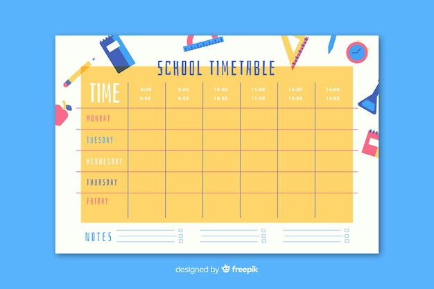 Stundenplan in flachen stil