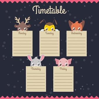 Stundenplan mit spähenden tieren