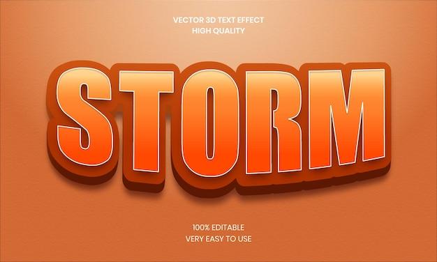 Sturm bearbeitbare 3d-texteffekt-stil glänzende fette 3d-textstil-schriftart premium-vektor