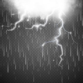Sturm mit blitz isoliert auf transparent