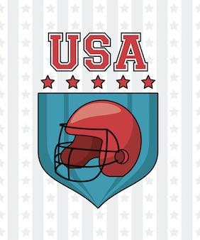Sturzhelm und sterne usa amerikanisches football auf ausweisvektor-illustrationsgrafikdesign