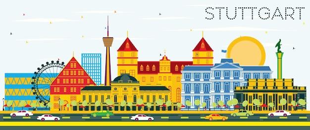 Stuttgart deutschland skyline mit farbgebäuden und blauem himmel. vektor-illustration. geschäftsreise- und tourismuskonzept mit historischer architektur. stuttgarter stadtbild mit wahrzeichen.