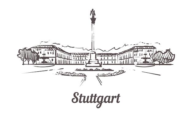 Stuttgarter skizzenlandschaft lokalisiert auf weiß