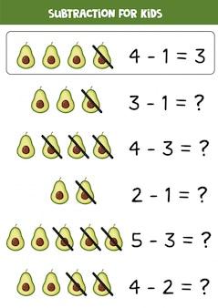 Subtraktion mit niedlicher cartoon-avocado. mathe-spiel.