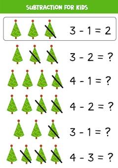 Subtraktionsspiel für kinder. weihnachtsbäume abziehen. arbeitsblatt für pädagogische mathematik.