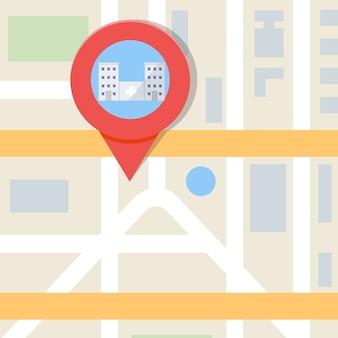 Suche krankenhaus oder apotheke auf der karte. vektorillustration.
