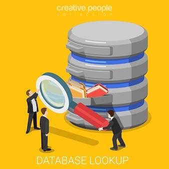 Suche nach datenbankinformationen flach isometrisch
