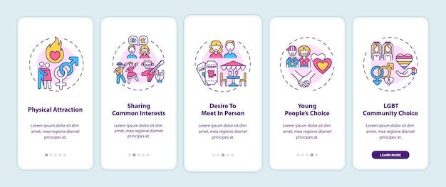 Suche nach einem geeigneten partner für den onboarding-seitenbildschirm für mobile apps mit konzepten