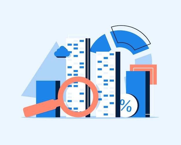 Suche nach investitionenfinanzinvestitionen und managementflaches design-symbol-vektor-illustration