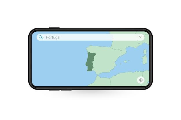 Suche nach karte von portugal in der smartphone-kartenanwendung. karte von portugal im handy.