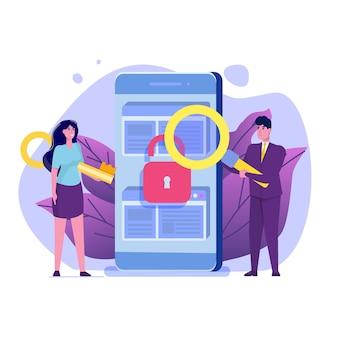 Suche nach sicherheitslücken und fehlern, suche nach malware-konzept.