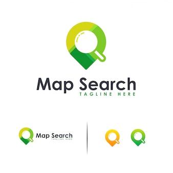 Suche standortlogo, karte suche logo flach