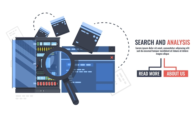Suche und analyse von informationen und daten, serverraum banner