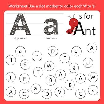 Suchen sie das brief-arbeitsblatt, verwenden sie eine punktmarkierung, um jedes a einzufärben