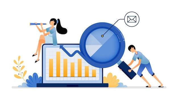 Suchen und finden von anteilen an neuen märkten bei finanzmeetings des unternehmens, um die gewinne zu steigern