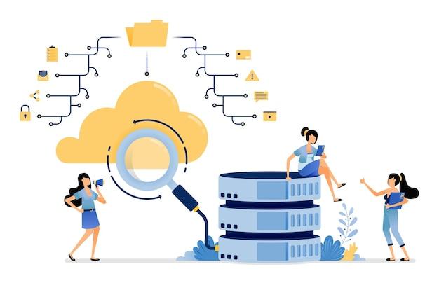 Suchen und finden von daten im netzwerk von ordnern, die mit organisierten datenbank-cloud-diensten verbunden sind