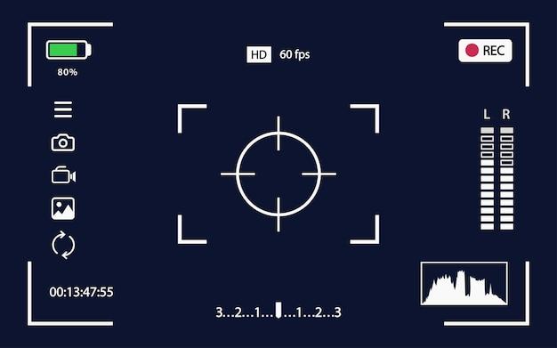 Suchervektorschablonenaufzeichnungsrahmen für kamera lokalisiert auf schwarzer hintergrundnachtkamera