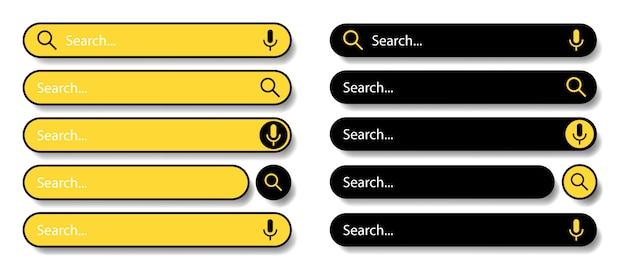 Suchleiste für benutzeroberfläche und website. schwarze und gelbe symbole auf einem weißen hintergrund. moderne auswahl der suchleiste. illustration.