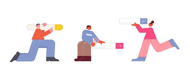 Suchleiste mit personen. fröhliche menschen helfen bei der suche nach informationen weboberfläche.
