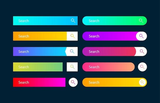 Suchleistenvektorelement mit unterschiedlichem design, satz von zehn suchfeldern ui-vorlage auf dunkelblauem hintergrund. vektor-illustration.