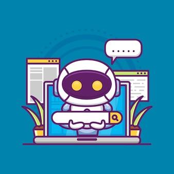 Suchmaschinenoptimierung mit niedlichem roboter