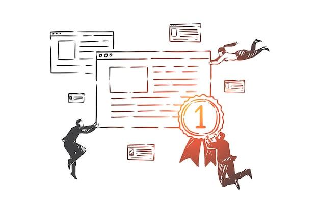 Suchmaschinenoptimierung, seo-konzeptskizze. der bildschirm der geschäftsleute fliegt und hält firmenwebsite mit der preismedaille des gewinners in händen. hand gezeichnete isolierte vektorillustration