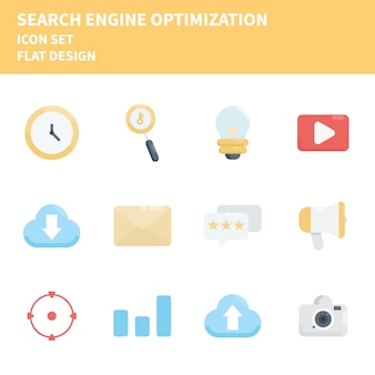 Suchmaschinenoptimierungs-icon-set. icons setzen.