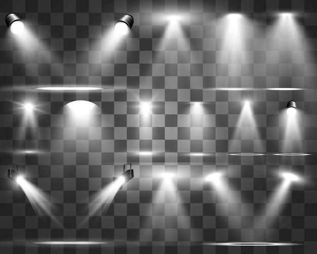 Suchscheinwerfersammlung für bühnenbeleuchtung, lichttransparente effekte. helle schöne beleuchtung mit scheinwerfern.