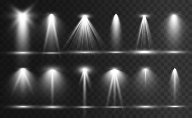 Suchscheinwerfersammlung für bühnenbeleuchtung, lichttransparente effekte. helle schöne beleuchtung