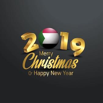 Sudan-flagge 2019 frohe weihnacht-typografie