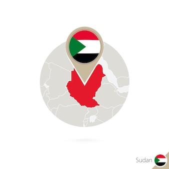 Sudan-karte und flagge im kreis. karte von sudan, sudan-flaggenstift. karte des sudan im stil der welt. vektor-illustration.