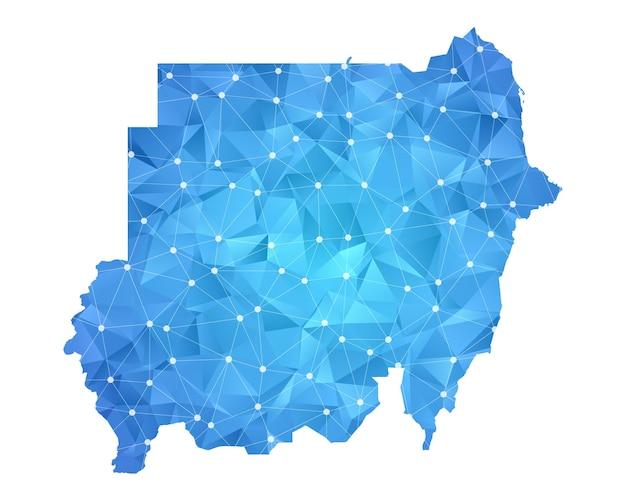 Sudan kartenlinie punkte polygonale abstrakte geometrische.