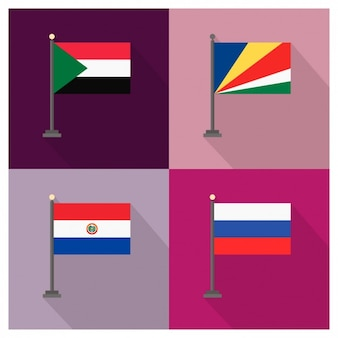 Sudan Seychelles Paraguay und Russland Flaggen