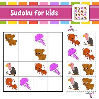 Sudoku für kinder. arbeitsblatt zur bildungsentwicklung. aktivitätsseite mit bildern. puzzlespiel für kinder. .
