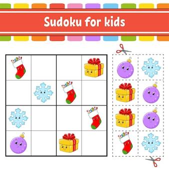 Sudoku für kinder. arbeitsblatt zur bildungsentwicklung. aktivitätsseite mit bildern. puzzlespiel für kinder.