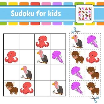 Sudoku für kinder. arbeitsblatt zur bildungsentwicklung. aktivitätsseite mit bildern.