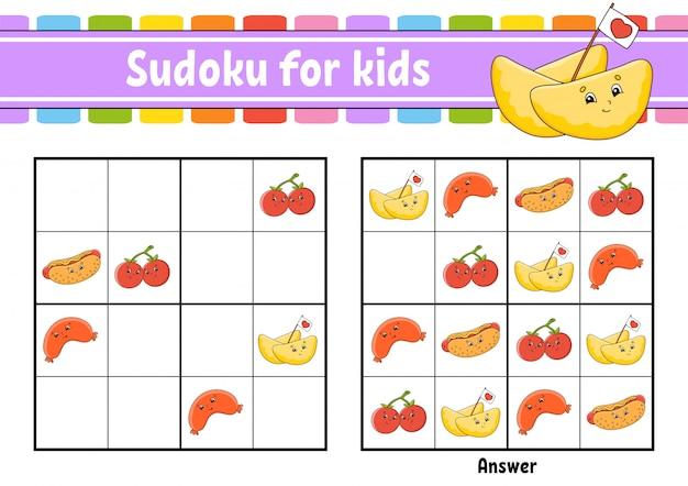 Sudoku für kinder. arbeitsblatt zur bildungsentwicklung. zeichentrickfigur. farbaktivitätsseite.