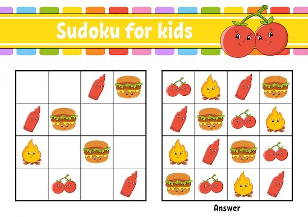 Sudoku für kinder. arbeitsblatt zur bildungsentwicklung. zeichentrickfigur.