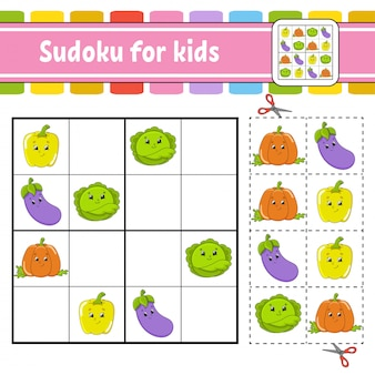 Sudoku für kinder. arbeitsblatt zur bildungsentwicklung.