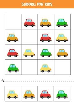 Sudoku für kinder im vorschulalter. logisches spiel mit bunten comicautos.