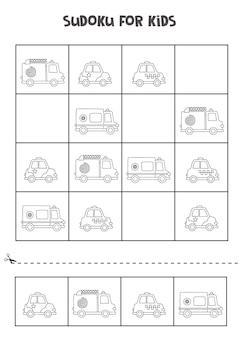 Sudoku für kinder im vorschulalter. logisches spiel mit cartoon-transport.