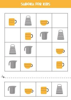 Sudoku für kinder im vorschulalter. logisches spiel mit küchenutensilien.