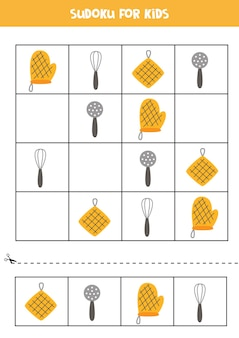 Sudoku für kinder im vorschulalter. logisches spiel mit küchenwerkzeugen.