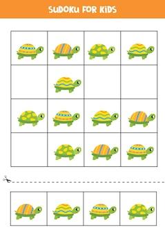 Sudoku für kinder im vorschulalter. logisches spiel mit niedlichen bunten schildkröten.