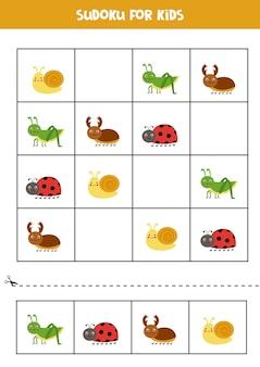 Sudoku für kinder im vorschulalter. logisches spiel mit niedlichen insekten.
